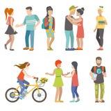 Vecteur plat des jeunes de patineuse d'étudiant urbain occasionnel de bicyclette illustration stock