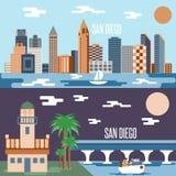 Vecteur plat horizontal de conception de points de repère de San Diego Photographie stock libre de droits