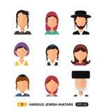 Vecteur plat juif de concept de bande dessinée d'icône d'utilisateurs d'avatars de personnes d'homme et de femme d'isolement sur  illustration de vecteur