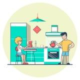 Vecteur plat linéaire de cuisine de consommation de couples occasionnel illustration de vecteur