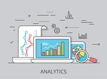 Vecteur plat linéaire de site Web d'analytics de vente Image stock