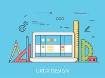 Vecteur plat linéaire de site Web de design de l'interface d'UI/UX Images stock