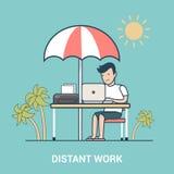 Vecteur plat linéaire de station de vacances d'ordinateur portable de travail éloigné gratuit illustration stock