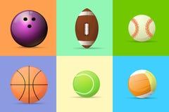 Vecteur plat réglé de conception de boule de sport illustration stock