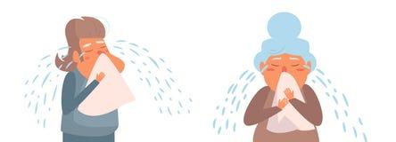 Vecteur pleurant de personne âgée cartoon Art d'isolement sur le fond blanc plat illustration stock