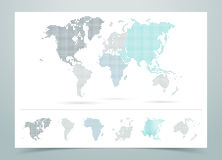 Vecteur pointillé de carte du monde avec des continents illustration de vecteur