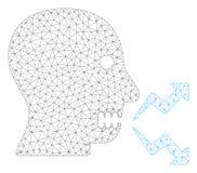 Vecteur polygonal Mesh Illustration de cadre de cri fâché de personne illustration libre de droits