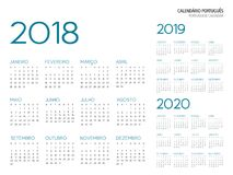 Vecteur portugais du calendrier 2018-2019-2020 Illustration Stock