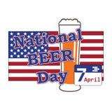 Vecteur pour le jour national de bière dans les Etats-Unis le 7 avril avec le verre de bière sur b illustration stock
