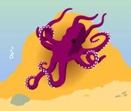 Vecteur pourpré d'océan de poulpe Photographie stock libre de droits