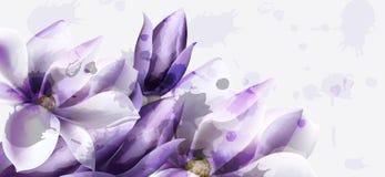 Vecteur pourpre d'aquarelle de fleurs La belle invitation l'?pousant, c?r?monie, font gagner la date, salutations illustration libre de droits