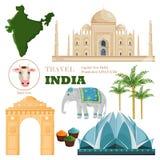 Vecteur principal d'ensemble d'attractions et de symboles d'Inde illustration libre de droits