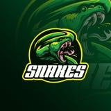 Vecteur principal de conception de logo de mascotte de serpent avec le concept f d'emblème d'insigne illustration stock