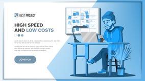 Vecteur principal de conception de page Web Réalité d'affaires Projet créateur Personne de dessin animé Outils de l'information I Image libre de droits