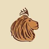 Vecteur principal de lion avec de l'or et des couleurs brunes Photo stock