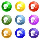 Vecteur protecteur d'ensemble d'icônes de masque protecteur d'air illustration stock