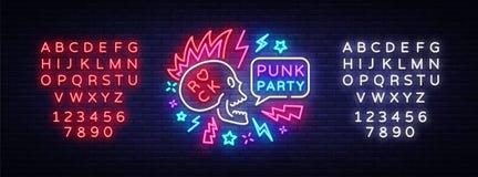 Vecteur punk d'enseigne au néon de partie Logo de musique rock, enseigne au néon de nuit, invitation d'élément de conception de b illustration stock