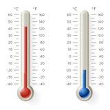 Vecteur réaliste froid chaud des icônes 3d de symbole de temps de degré Celsius de Fahrenheit de la température de thermomètre de illustration stock