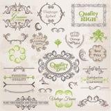 Vecteur réglé : Éléments de conception et décoration calligraphiques de page Photographie stock
