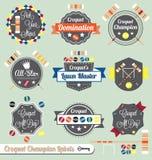 Vecteur réglé : Étiquettes et graphismes de champion de jeu de croquet Photographie stock
