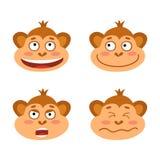 Vecteur réglé avec des visages d'émotion de singe Petits singes mignons illustration de vecteur