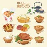Vecteur réglé avec la nourriture chinoise Rue chinoise, restaurant ou illustrations faites maison de nourriture pour le menu asia Photo libre de droits