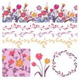 Vecteur réglé avec les éléments floraux illustration de vecteur