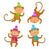 Vecteur réglé avec les singes drôles Petits singes mignons Photos stock