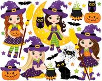 Vecteur réglé avec les sorcières et les éléments mignons de Halloween Photographie stock libre de droits