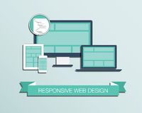 Vecteur réglé dénommé plat d'icône de web design sensible  Photo stock