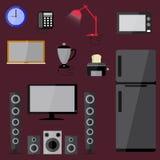 Vecteur réglé d'équipement de ménage de l'électronique électrique Images stock