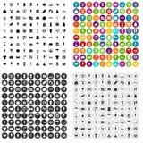 100 vecteur réglé d'achats d'été par icônes variable Photographie stock