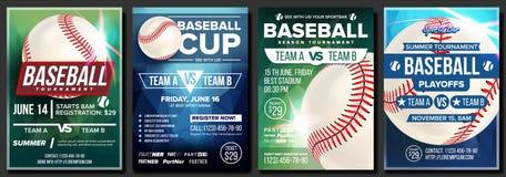 Vecteur réglé d'affiche de base-ball Conception pour la promotion de barre de sport base Bille de base-ball Tournoi moderne Événe illustration de vecteur