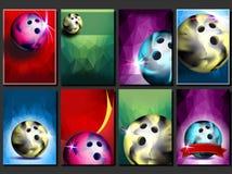 Vecteur réglé d'affiche de bowling Calibre vide pour la conception promotion Boule de club de bowling Tournoi moderne Manifestati illustration libre de droits