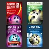 Vecteur réglé d'affiche de bowling Conception pour la promotion de barre de sport Boule de bowling Tournoi moderne Annonce de man illustration de vecteur