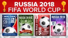 Vecteur 2018 réglé d'affiche de coupe du monde de la FIFA Championnat Russie 2018 Conception pour la promotion de barre de sport  Photo libre de droits