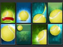 Vecteur réglé d'affiche de tennis Calibre vide pour la conception promotion Cour, balle de tennis Tournoi moderne d'insecte Manif illustration de vecteur