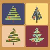 vecteur réglé d'arbres de Noël quatre Image libre de droits