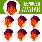 Vecteur réglé d'avatar de l'adolescence de fille Faites face aux émotions Enfants Indien, indou Asiatique Beau, drôle Illustratio illustration libre de droits