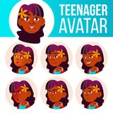 Vecteur réglé d'avatar de l'adolescence de fille Indien, indou Asiatique Faites face aux émotions émotif Occasionnel, ami Illustr illustration libre de droits