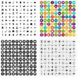 100 vecteur réglé d'aventure par icônes variable Photos stock