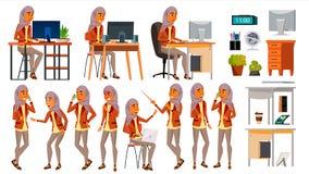 Vecteur réglé d'employé de bureau de femme arabe Femme Hijab Ghutra Arabe, musulman poses Émotions de visage, divers gestes posit illustration stock