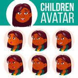 Vecteur réglé d'enfant d'avatar de fille École primaire Indien, indou Asiatique Faites face aux émotions Utilisateur, caractère L illustration de vecteur