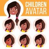 Vecteur réglé d'enfant d'avatar de fille noir Afro-américain kindergarten Faites face aux émotions École maternelle, bébé, expres illustration libre de droits