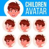 Vecteur réglé d'enfant d'avatar de garçon kindergarten Faites face aux émotions Portrait, utilisateur, enfant Junior, école mater illustration libre de droits