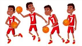 Vecteur réglé d'enfant de joueur de basket Diverses poses Boule d'In Uniform With d'athlète Concurrence de jeu de sport gibier D' illustration libre de droits