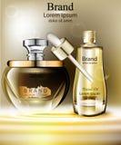 Vecteur réglé d'huile de cosmétiques réaliste Produits empaquetant la moquerie vers le haut de l'essence naturelle organique Image libre de droits