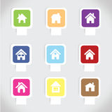 Vecteur réglé d'icône à la maison colorée Photo stock