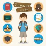 Vecteur réglé d'icône de caractère d'étudiant illustration de vecteur