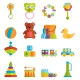 Vecteur réglé d'icône plate de jouets de bébé Images stock